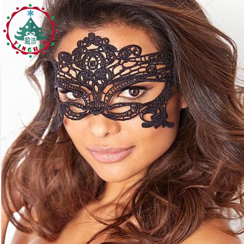 inhoo 6 pc 여성 블랙 섹시한 레이스 마스크 컷 아웃 - 휴일 파티 용품 - 사진 1