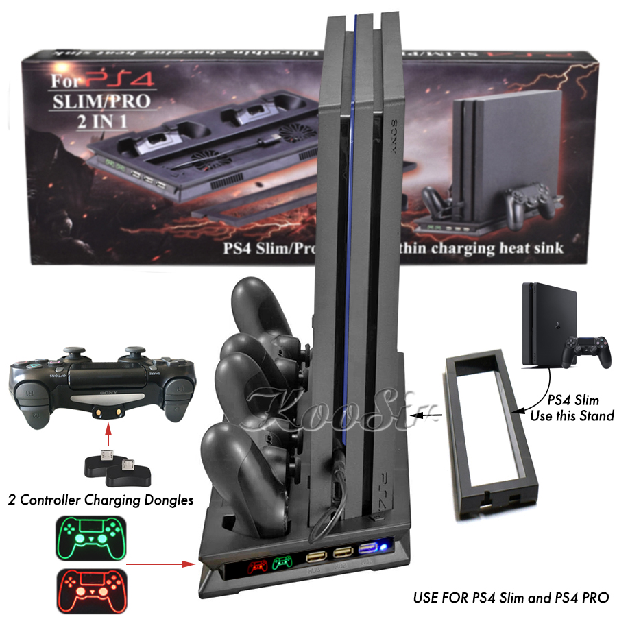 PS4 Slim Pro 2 In 1 Console Cooler Fan Stand with PS 4 Controller Charger Dock Station for Sony Playstation 4 Slim Pro Games image