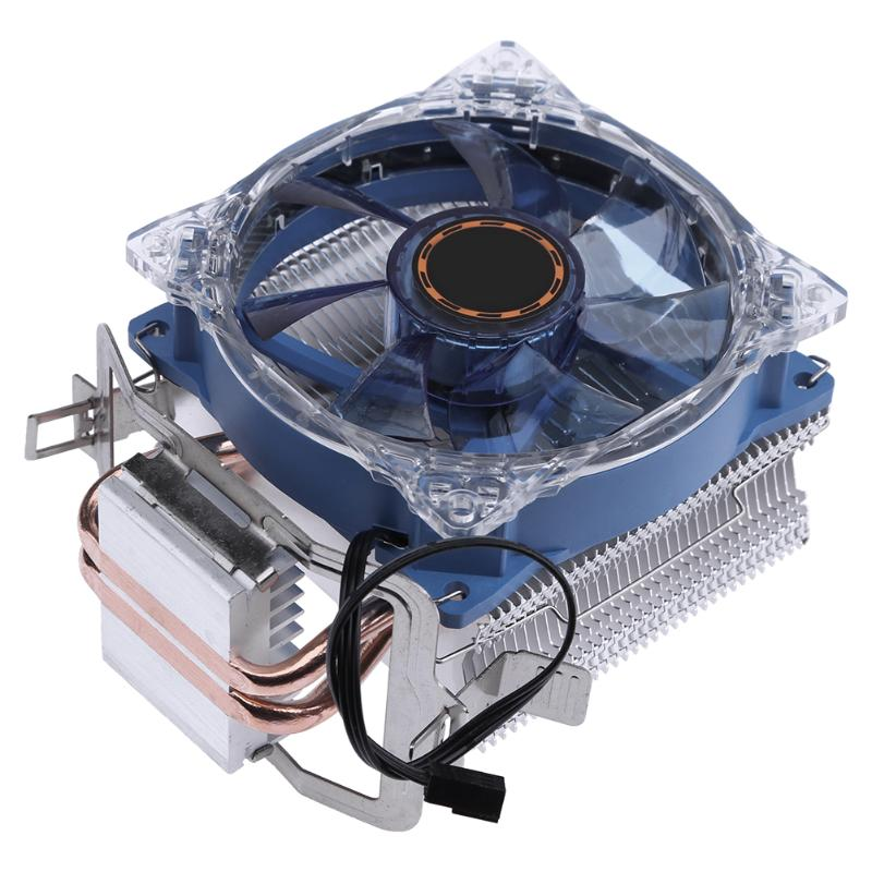 DC 12V 95W 3 Pin CPU Cooler Copper Double Heat Pipe Radiator Brass Tower Fan Cooling System for Intel AMD pcooler s90f 10cm 4 pin pwm cooling fan 4 copper heat pipes led cpu cooler cooling fan heat sink for intel lga775 for amd am2