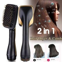 Secador de cabelo escova 2 em 1 multi-funcional estilos alisador de cabelo pente de cabelo elétrico íon negativo cuidados salão de beleza cabeleireiro
