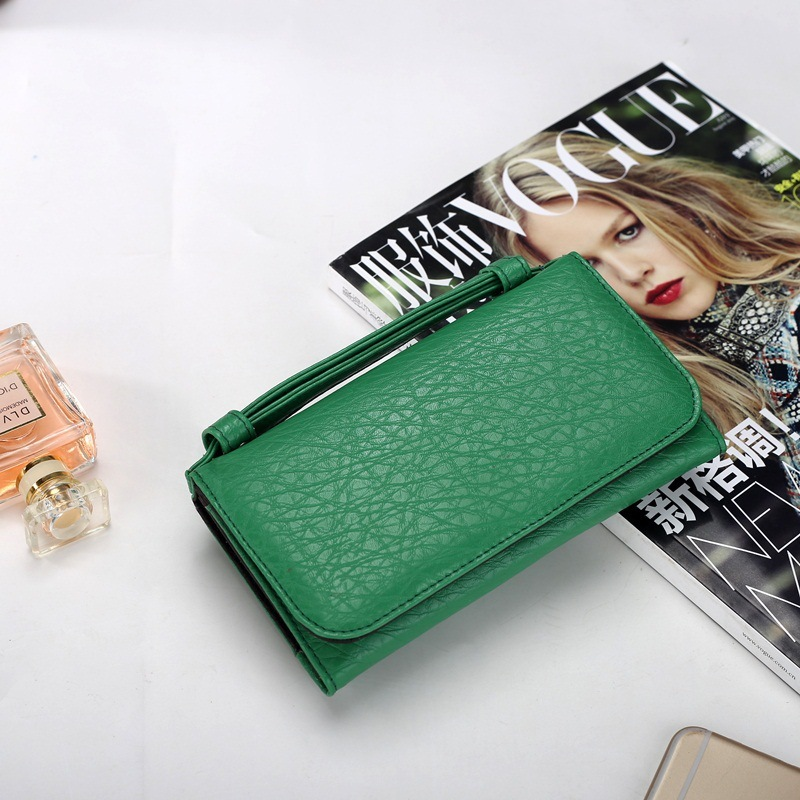 Leather Women Wallet New 2 Fold Purse Paragraph Buckles Grows In Europe And Contracted Flip Leather Ladies' Long Clutches
