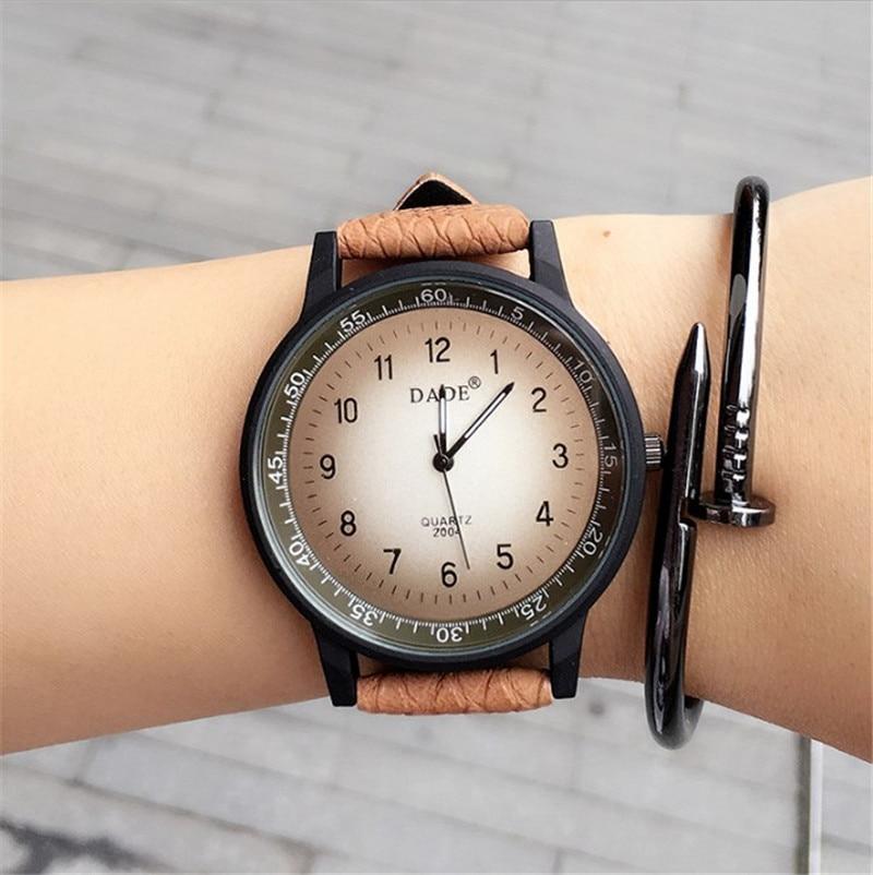 2016 New Fashion Watch Unisex British Style Quartz Watch Casual High Quality Women Men Popular Leather Strap Elegant Wristwatch