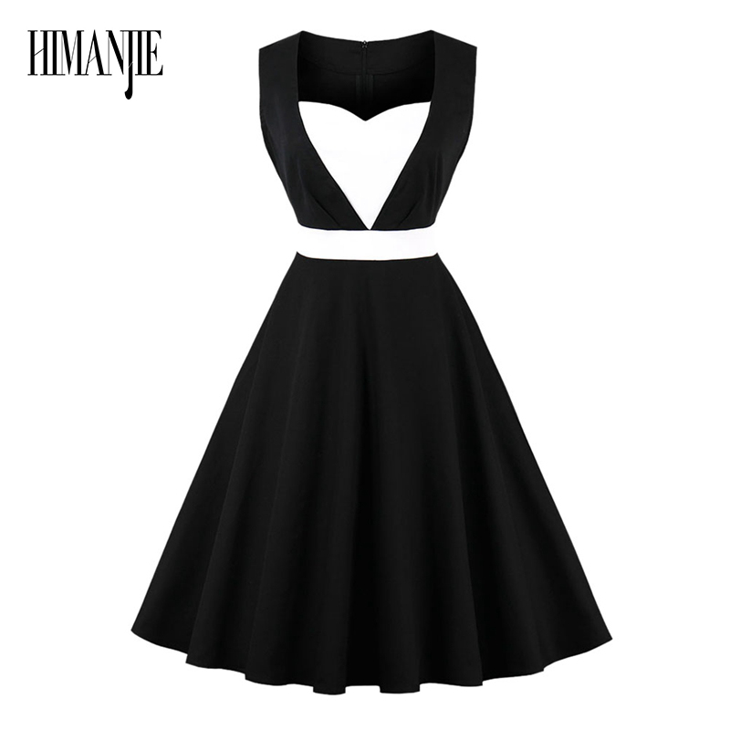 Women vintage 1950s style dresses Ethereal Heart-Shaped Sleeveless black elegant female retro flocking tank sleeveless dresses