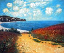 Meadow Road to Pourville by Claude Monet Handpainted