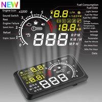 HUD head up display 5.5Inch Car Head Up Display Windscreen Projector OBD2 Car Driving Data Speeding Warning MPH Fuel Speedometer