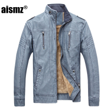 Aismz Brand PU Faux Casual Man Jackets Men Leather Jacket Male Coats Winter Warm Velvet Hombre