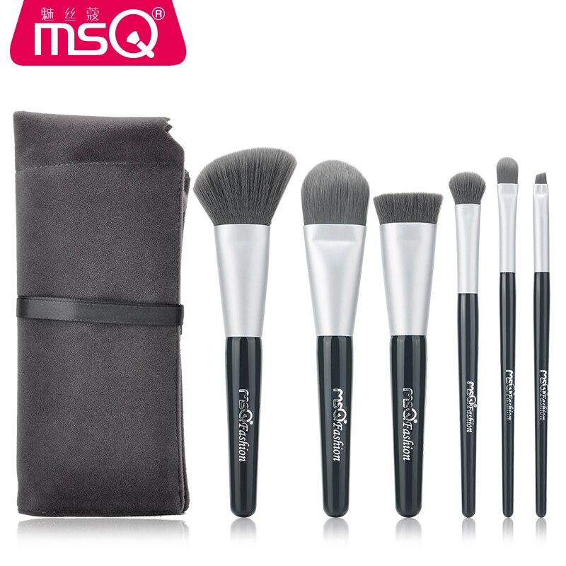 MSQ Professional 6pcs Makeup Brushes Set Soft Grey Fluffy Hair Brush Powder Foundation Eyeshadow Lip Makeup Brush Tool + Bag
