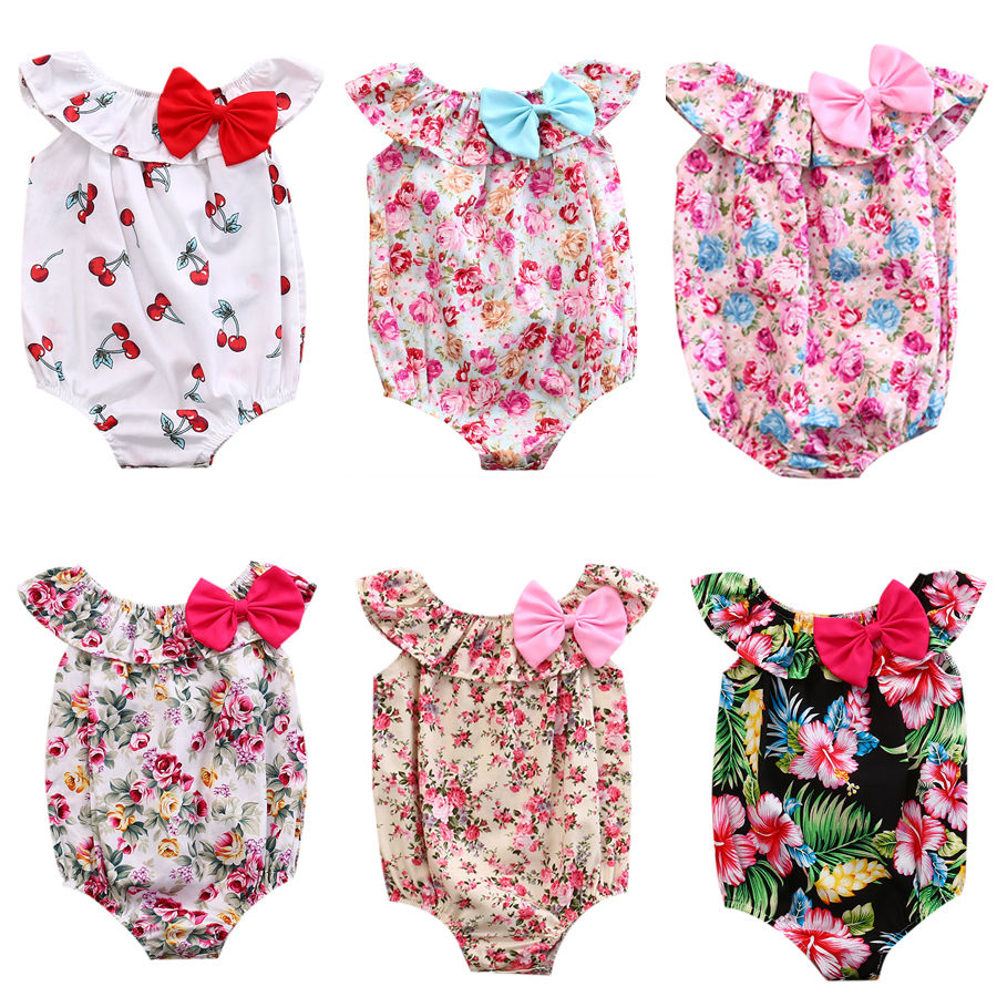 Pudcoco Toddler Newborn Baby Girl Kids Bow Floral Romper Cotton Jumpsuit Sunsuit Summer One-Piece Clothes Outfits