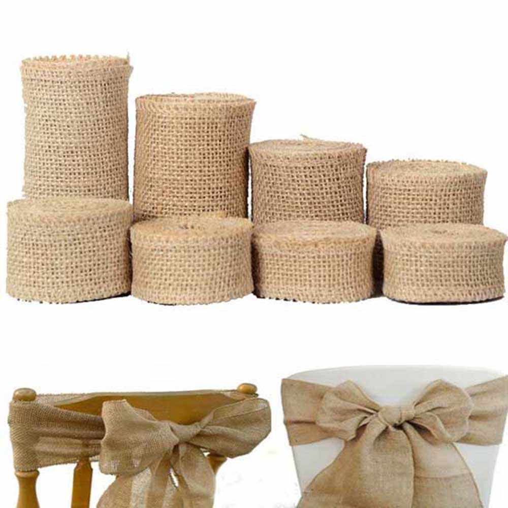 Cinta Yute Arpillera Natural Artesanía Regalo Decorativa wraping bolsa de material 1M//Rollo