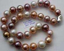 gorgeous 12-13mm south seas white pink purple pearl necklace 18inch s925