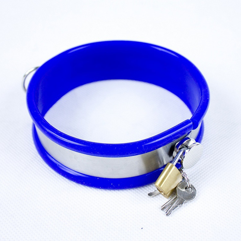 Blue Pink Stainless Steel Collar Bondage Restraints Dog Sex Collar with Lock Silicone Collar Sex Toys for Couples G7-6-54 pet attire sparkles dog collar 8 12in pink