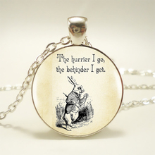 Alice in Wonderland Quote Pendant Choker Statement Silver Necklace For Women Dress Accessories Rabbit Necklace Jewelry HZ1
