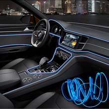 1set 3M/5M 12V Car LED Cold light Flexible Neon EL Wire Auto Lamps on Car Ambient Cold Light Line Decorative LED Strip lamps