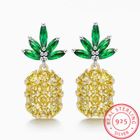 2017 Summer Fashion Yellow Big Gems Crystal Pineapple Earring 925 Sterling Silver For Women S Sweet