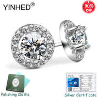 Sent Silver Certificate! YINHED 100% 925 Sterling Silver Wedding Jewelry 1ct Round Cubic Zirconia Stud Earrings for Women ZE081