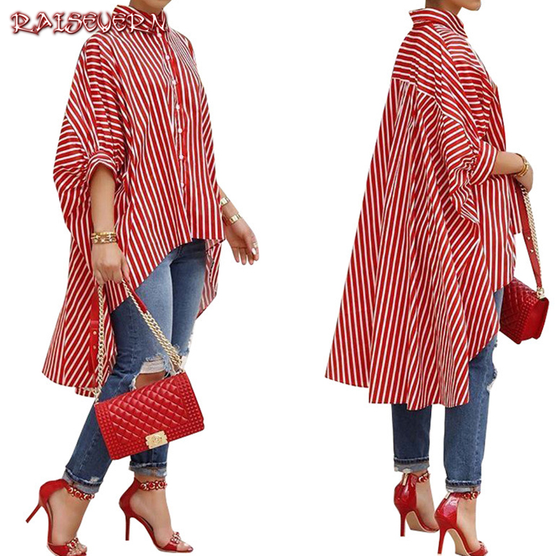 RAISEVERN Women   Blouse     Shirts   Striped Irregular Batwing Sleeve Loose Casual Long Tops Turn-Down Collar Butto   Shirts   Streetwear