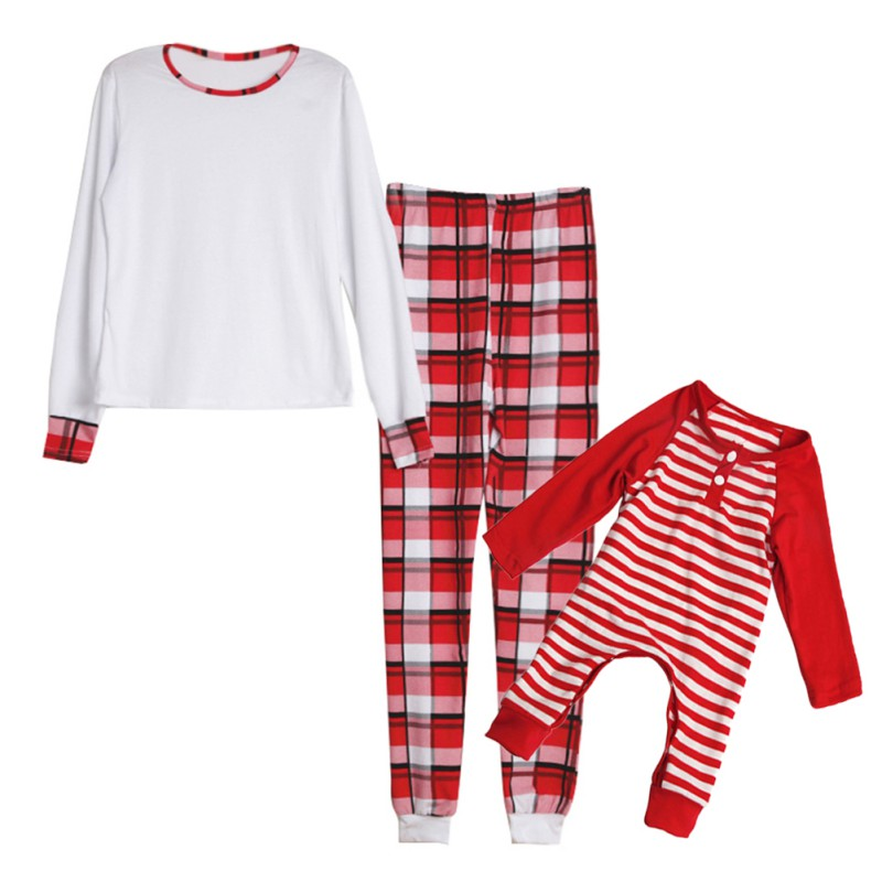 Christmas Day Clothes Family Matching Pajamas Set Night Wear Suits 2pcs Cotton T-shirt + Striped Pants