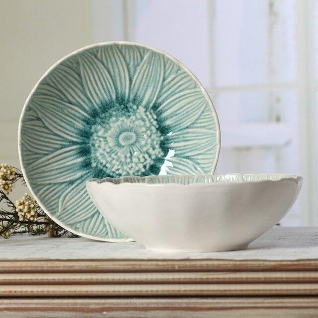 Free shipping 17 cm crackle glaze bowl ceramic lotus bowl carving glaze rice bowl salad bowl  tableware