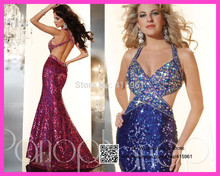 2015 Bling Royal Blue Burgundy Crystal Backless Evening Prom Dresses Halter Mermaid Sequins Long Special Occasion Dress E6116