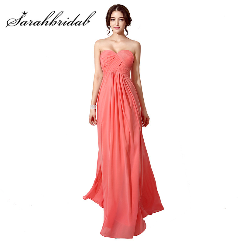 Coral Cheap   Evening     Dresses   Long Chiffon Sexy Sweetheart Pleats Lace Up Back Floor Length Party Prom Gowns SD182