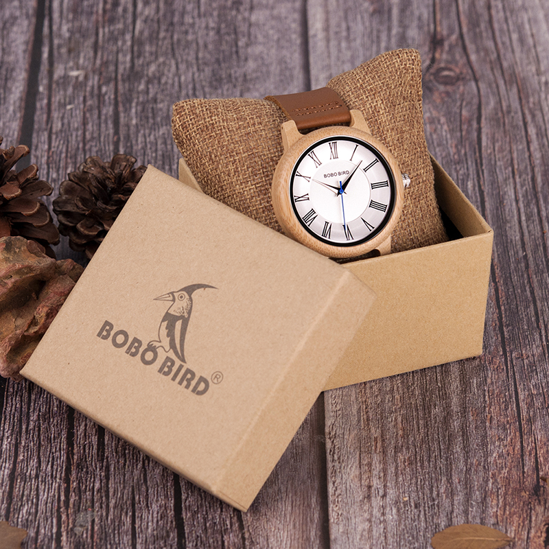 BOBO BIRD Wood Bamboo Watch Lovers Leather Band Exquisite Timepieces - Relojes para hombres - foto 6