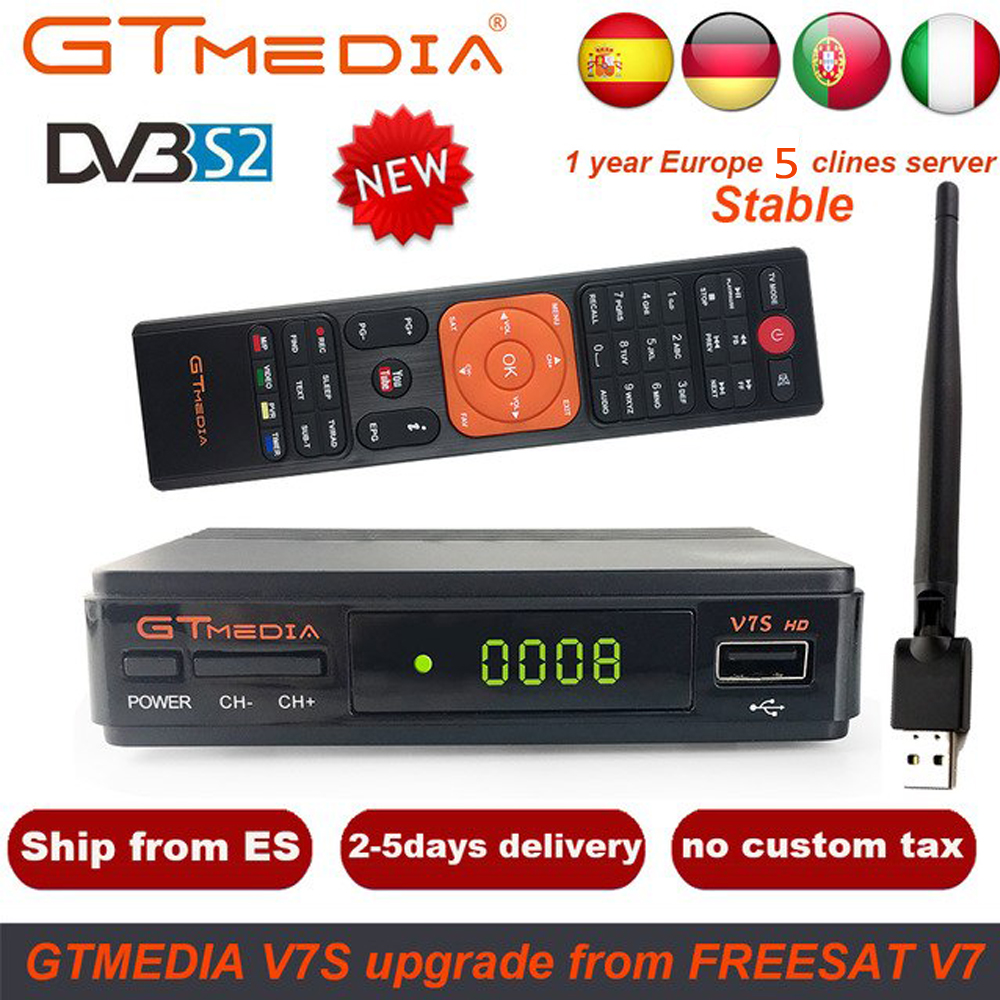 1 Year Europe 5 Clines Server GTMedia V7S HD Digital Satellite Receiver DVB-S2 Full 1080P+USB WIFI Upgrade Freesat V7