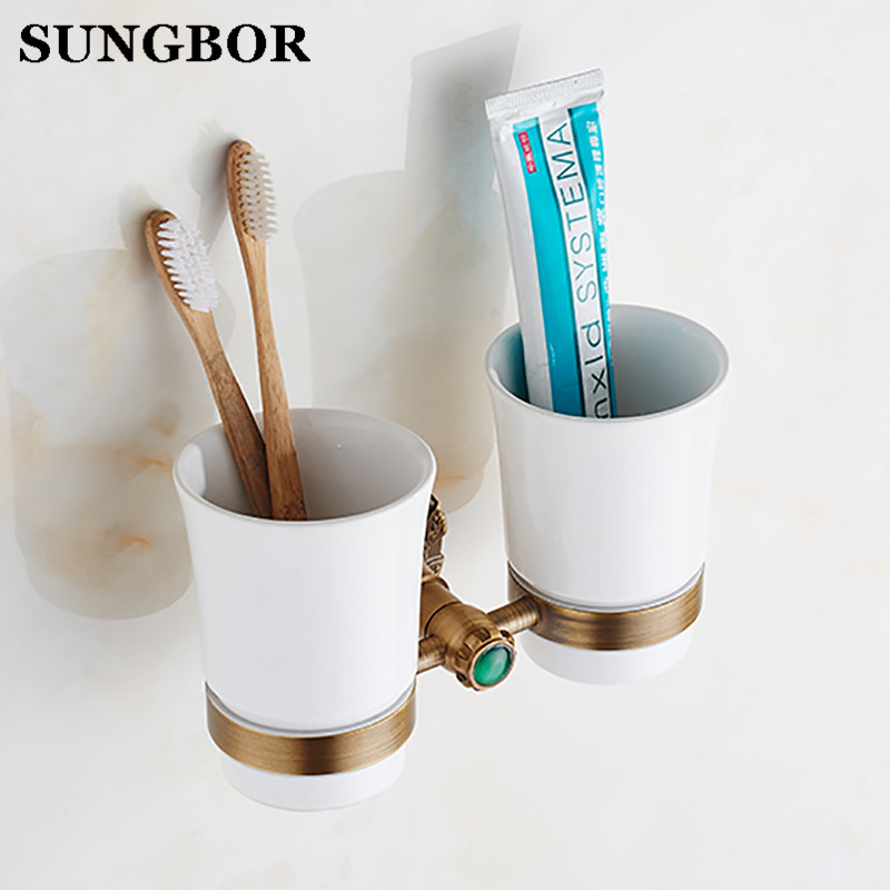 Wall Mounted Euro Antique Bathroom Double Ceramic Cup Holder Toothbrush Tumbler Holder Oil Rubbed Bathroom Accessories leyden oil rubbed bronze toothbrush tumbler holder brass toothbrush holder