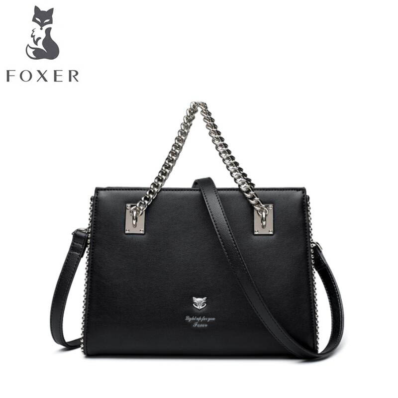 FOXER 2018 New Women leather bag designer famous brand leather women Cowhide bag Casual Chain Hand fashion leather shoulder bag цена