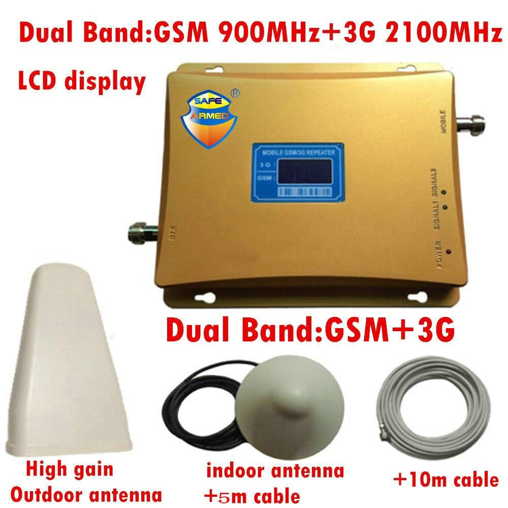 GSM 3g Répéteur Double Bande GSM 900 mhz 2100 mhz W-CDMA UMTS Repetidor 3g Antenne Amplificateur de Signal 2g 3g Téléphone Portable D'appoint Ensembles