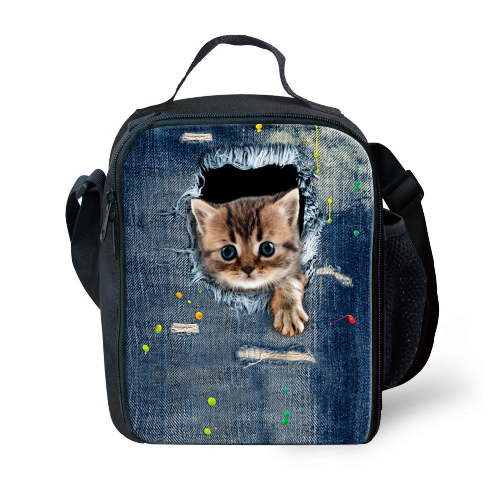 Cute Zoo Animal Adult Lunch Bag For Kids Cat Print