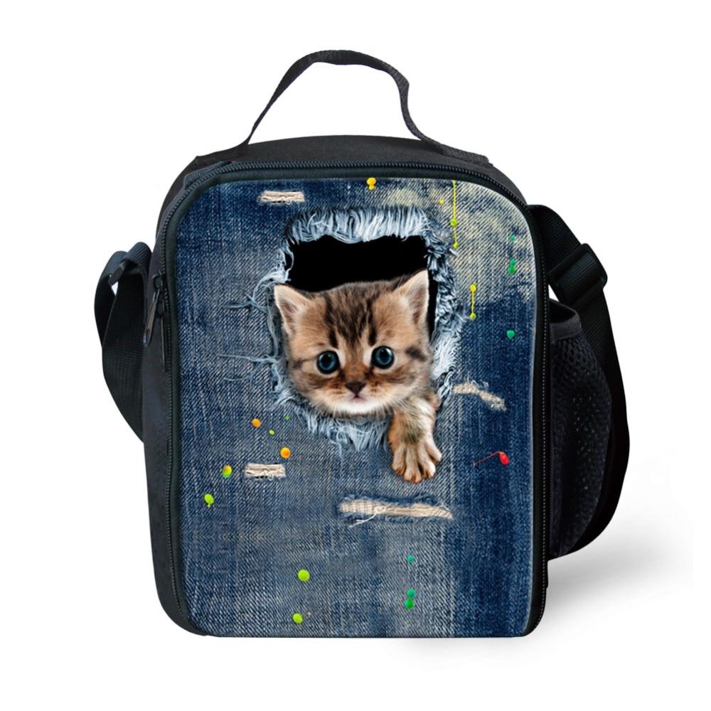 cute zoo animal adult lunch bag for kids cat print children lunch bag thermal cooler girls. Black Bedroom Furniture Sets. Home Design Ideas