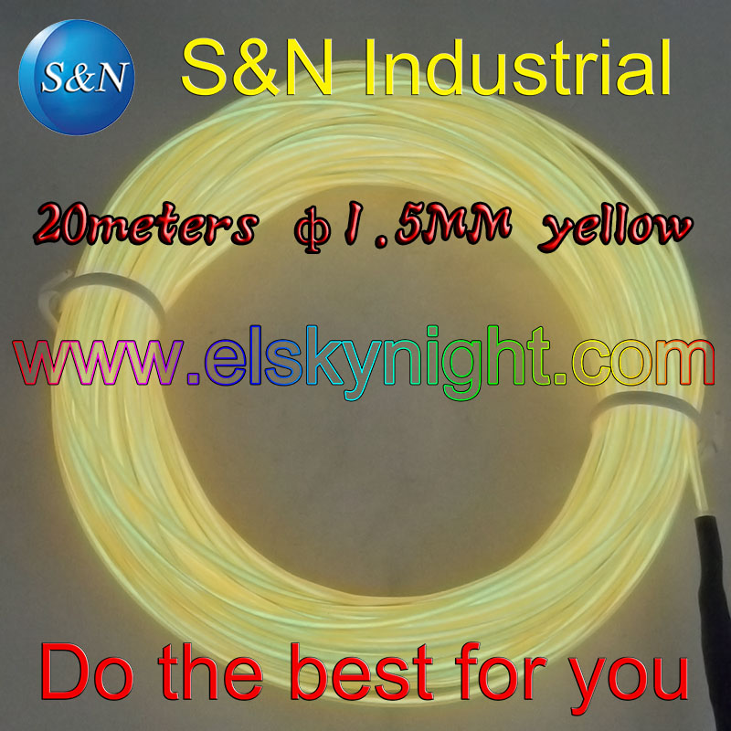 Yellow 20M Flexible Wire Rope Tube Neon Light &100-240VACinverter For Holiday,party,festival And House Decoration Freeshipping