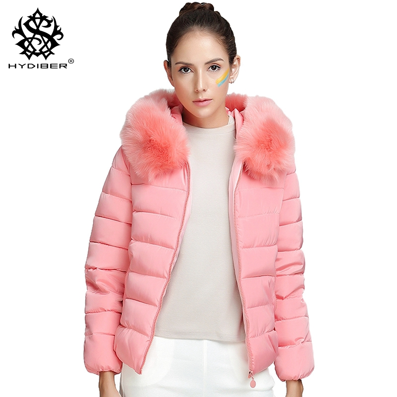 hydiber 2017 New Winter Women Slimming Pink Artificial Cotton Padded Jackets Ladies Black Long Sleeve Blue Fall Parka Plus Size bar iii new light pink women size small s tiered long sleeve cropped blouse $69