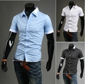 free shipping new summer fashion boutique man short sleeve shirt / Men's dress leisure pure color lapel shirt /casual men shirts