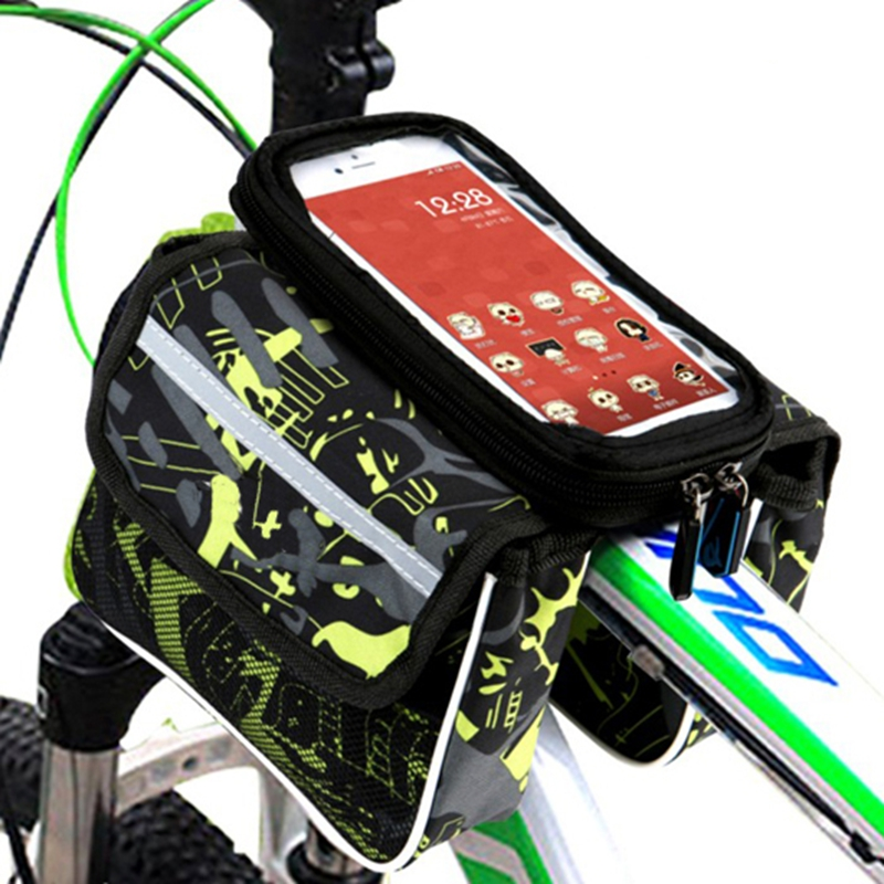 Bicycle bag front beam package on the tube package mountain bike bag saddle bag riding equipment accessories mobile phone bag new arrival inbike waterproof large capacity bike front beam package outdoor sports riding mountain bike saddle bag net bag