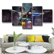 Cartoon Girls Canvas Painting 5 Pieces Game Posters HD Prints Wall Art Kids Room Modular Tracer D.Va Pictures Artwork Home Decor