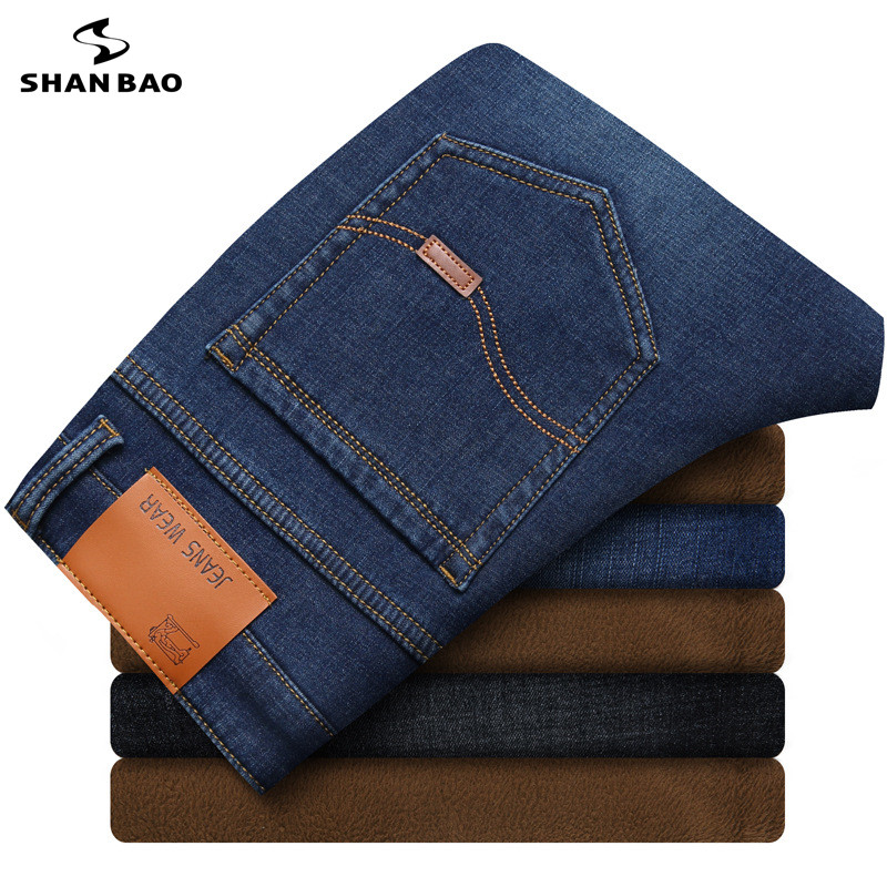 2018 winter warm and warm plus velvet thick jeans fashion back pocket leather stitching men's stretch cotton slim jeans 28-40