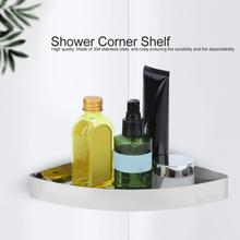 цена на Triangle Corner Shower Shelf Stainless Steel Bathroom Kitchen Storage Rack Organizer Basket Shampoo Holder Wall Shelves