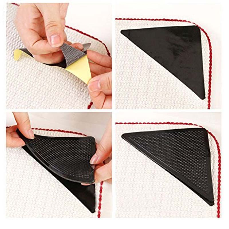 4pcs Rug Carpet Mat Grippers Triangle Non Slip Reusable Washable Silicone Anti-skid Door Pad Grip For Home Bathroom Living Room