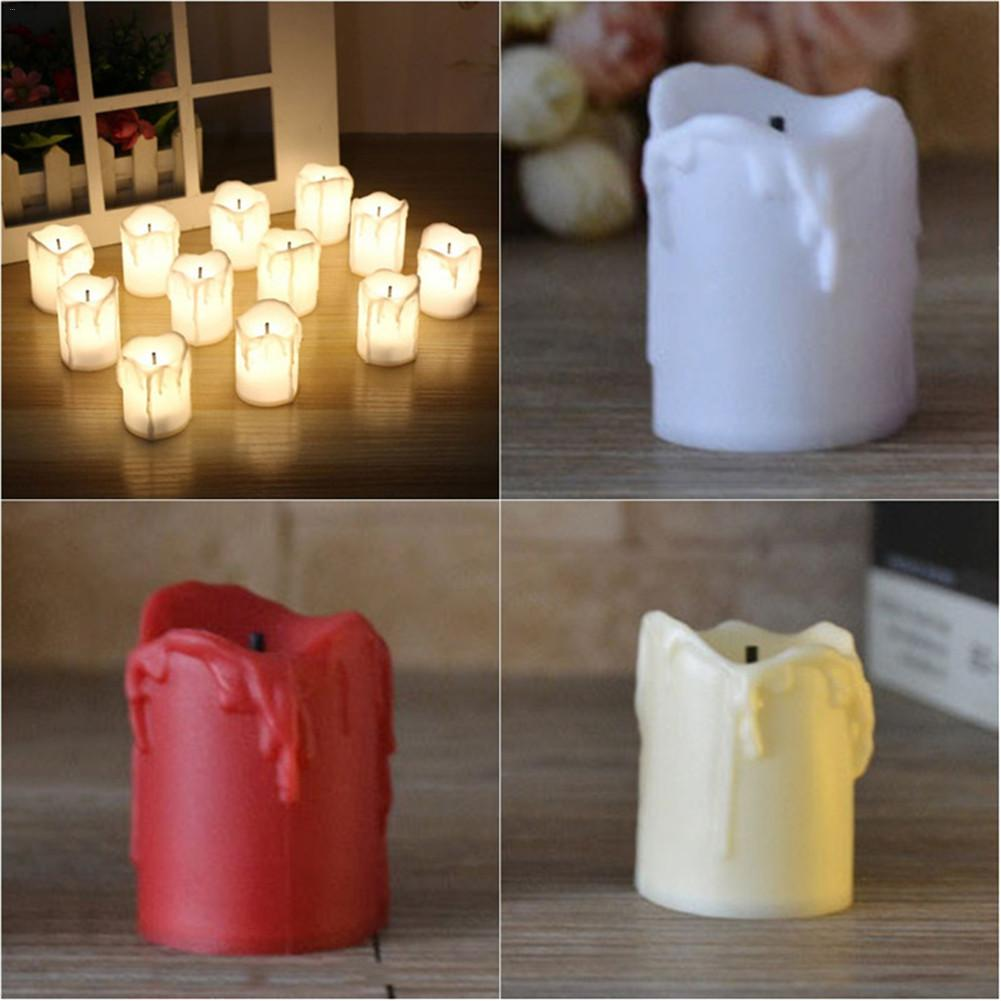 Lot Bougie Led 12pcs Lot Tears Shape Ivory Led Candles Batteries Included Pillar Scented Bougie Velas Candle Home Wedding Decoration Birthday