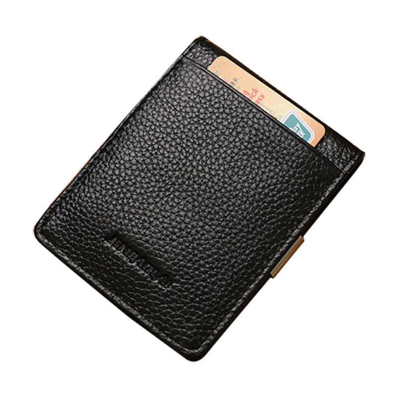 Мужской кошелек из натуральной кожи, высокое качество, черный кошелек для мужчин, кредитный двойной Бизнес Стиль