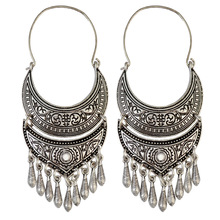 pusheen  Hand carved  Chic  Geometric  Vintage fashion long earrings for womenGypsy  Pakistan Hollow out jewelry
