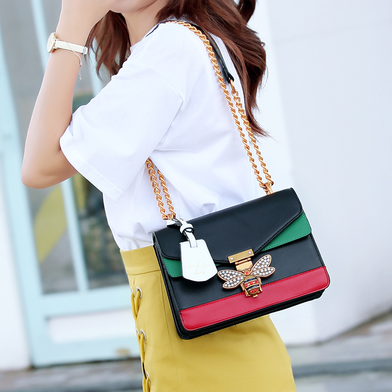 Luxury Brand Women Color Splicing Little Bee Bags Lady Clutches Locks Famous Designer Handbags Gold Chain Shoulder Messenger Bag the little old lady in saint tropez