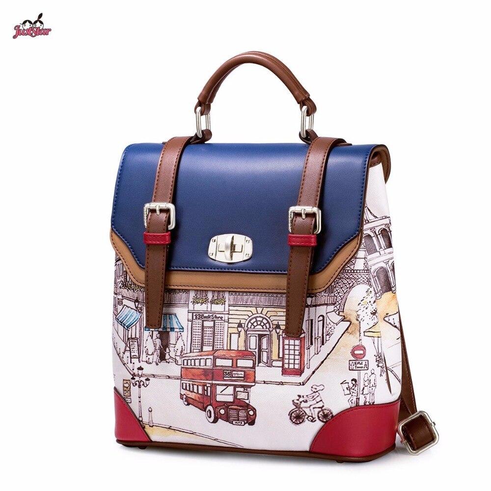 Just Star Brand Design British style Street Printing Lock PU Women Leather Girls Ladies Backpack School Travel Shoulders Bags