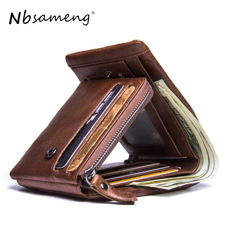 NBSAMENG  Genuine Crazy Horse Leather Vintage Mens Wallets Trifold Wallet Zipper Coin Pocket Purse  Wallet For Male onlvan mens wallet crazy horse genuine leather cowhide cover coin purse man vintage male credit id multifunctional wallets