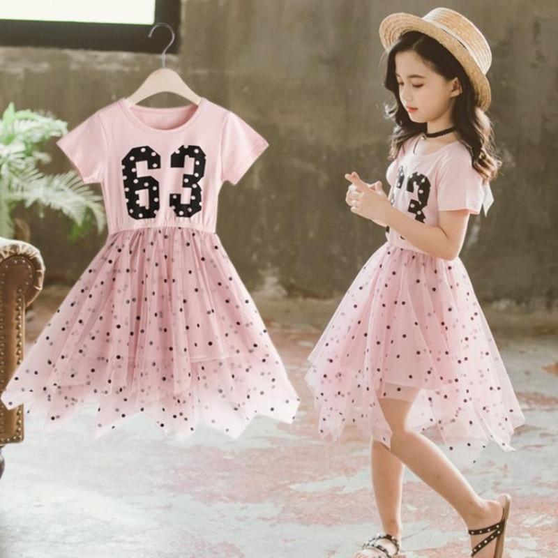 Летнее платье для девочек-подростков, модель 2019 года, модное Сетчатое платье с коротким рукавом и буквенным принтом в горошек, платье принце...