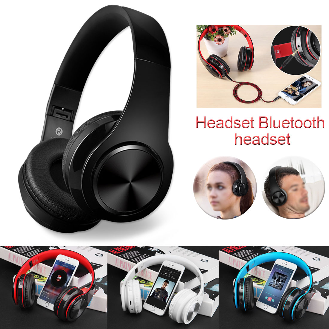 New Bluetooth Wireless Headphones Headset Foldable Headphone Adjustable Earphones With Microphone/TF Card For PC Phone MP3