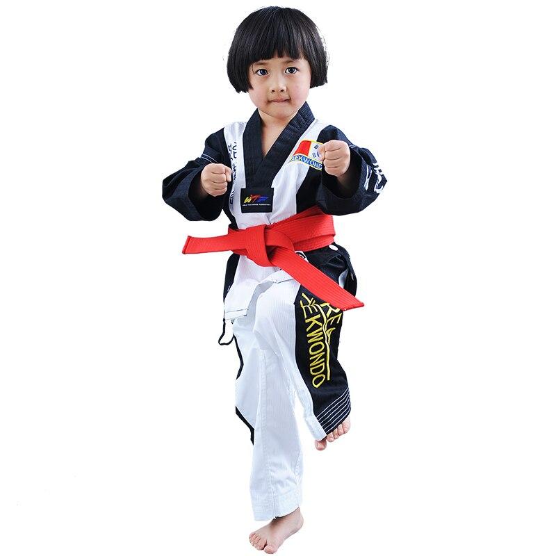 New high quality Taekwondo dobok TKD cotten and bamboo fiber Uniform ITF series of children Kids Taekwondo Long sleeve clothes
