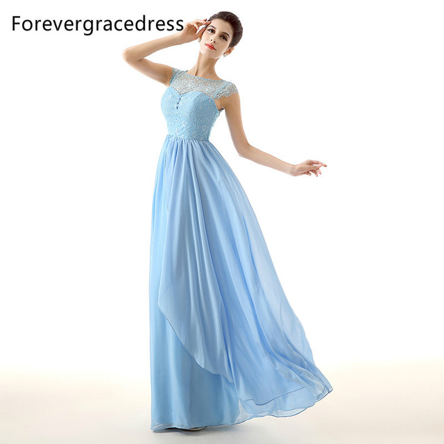 Forevergracedress Sky Blue Lange Kleid Brautjungfer Eine Linie ...
