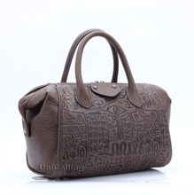 Luxury female bag genuine leather handbag vintage leather women bag brand leather shoulder bag ancient hieroglyphic embossing